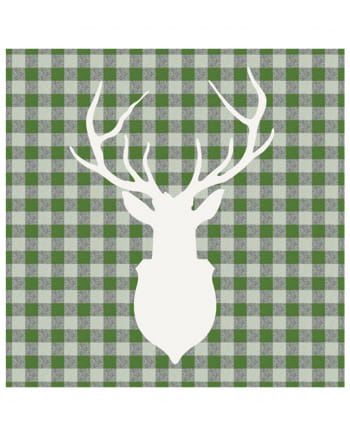 Napkins deer silhouette green 20 pc.