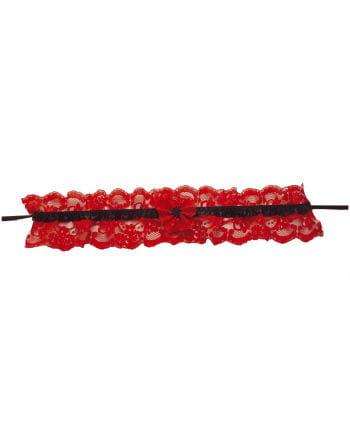 Sexy Spitzenstrumpfband rot/schwarz