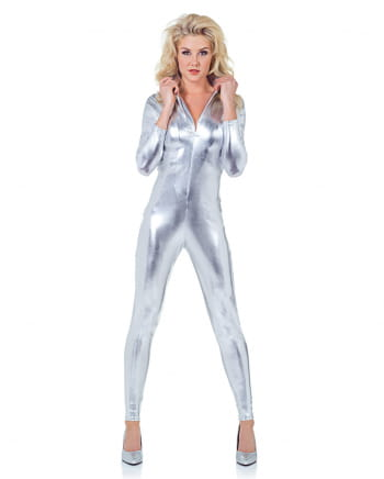Sexy Catsuit Silber Metallic