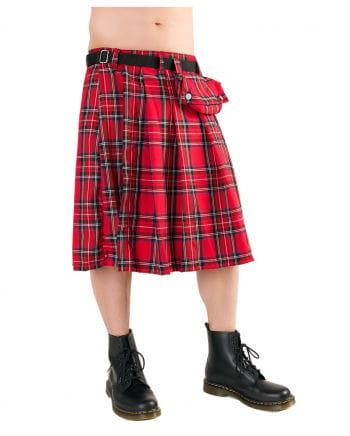 Short Kilt Tartan With Belt Pouch Red