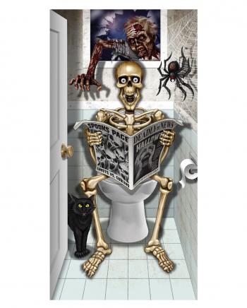 Skeleton Sitting On WC Door Foil