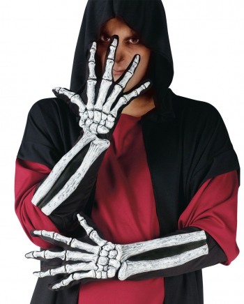 Knochenmann 3D Handschuhe weiß