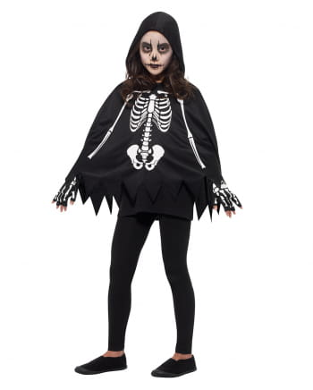 Skeleton Kids Poncho With Gloves