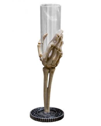 Sektkelch Skeletthand Klar