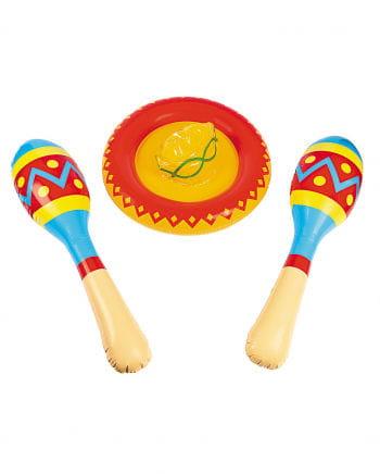 Aufblasbarer Sombrero mit Maracas