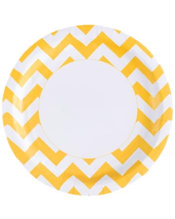 Sonnenschein Gelbe Zick-Zack Pappteller 8 St.
