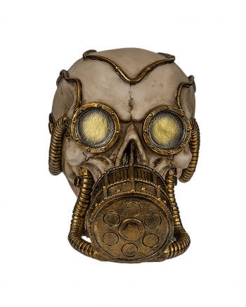 Money Box Skull With Golden Gas Mask