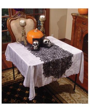 Spinnweben Tischläufer schwarze Spitze