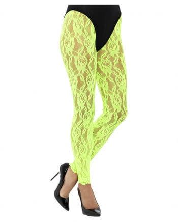 80s Leggings aus Spitze neongrün
