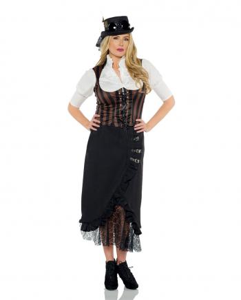 Steampunk Kostümweste mit Streifen braun-schwarz
