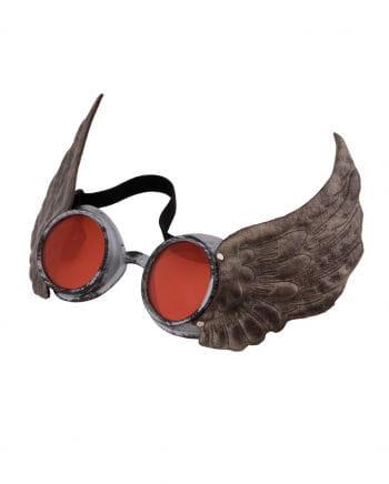 Steamworks Flügel-Pilotenbrille Silber