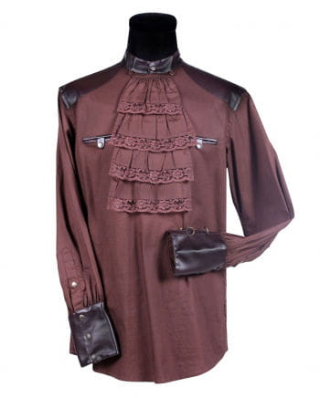 Steampunk shirt with ruffled collar brown