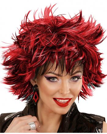 Steamy Damenperücke Schwarz-Rot für Karneval