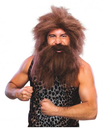 Neandertaler Perücke mit Bart braun