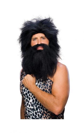 Stone Age wig with beard black