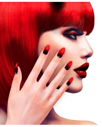 Stiletto Fingernägel Rot-Schwarz 12 St.