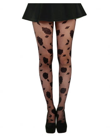 Tights with Rose Pattern
