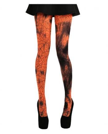 Orange Batik Spinnweben Strumpfhose