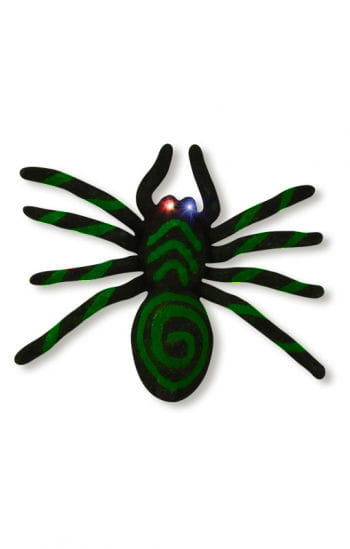 Green spider with blinking LED eyes