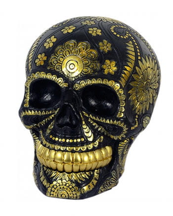 Skull Flower Pattern Black-gold