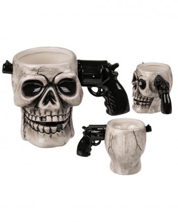 Schädel Keramik Tasse mit Pistolen Griff