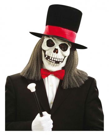 Totenschädel Maske mit Haar und Zylinder