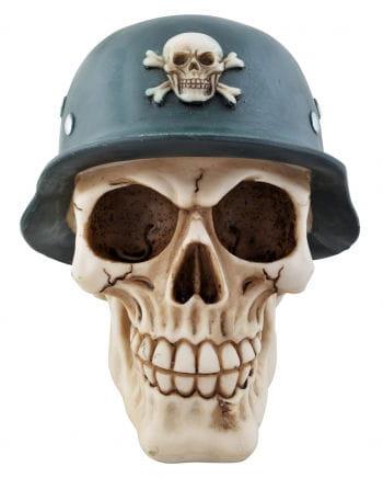 Totenkopf Spardose mit Soldatenhelm