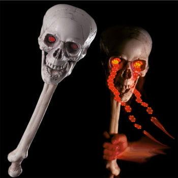 Totenschädel Keule mit LED Augen