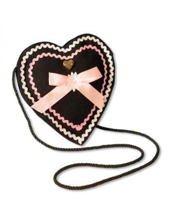 Trachtentasche heart shape black ros