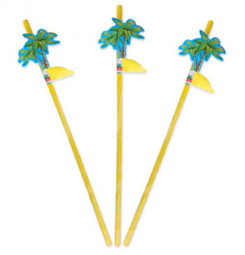 Drinking Straw With Palm Decoration