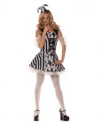 Schwarz-weißes Harlekin Damenkostüm