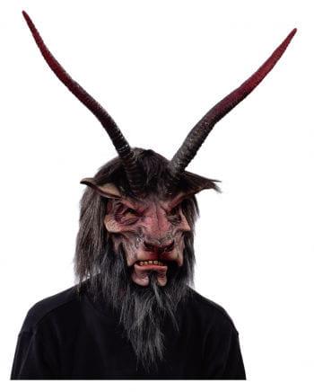 Krampus Maske mit Hörnern & Kunstfell