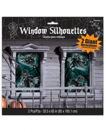 Eerie Haunted House Window Decoration 2 Pcs.