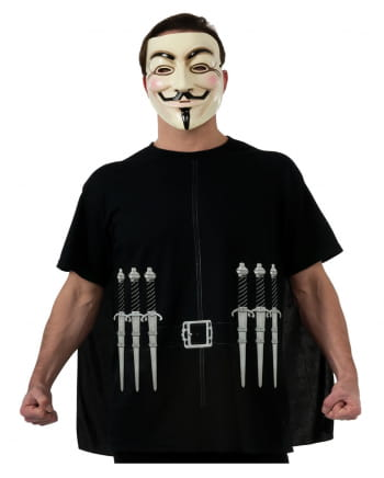 V wie Vendetta T-Shirt mit Cape & Maske XL
