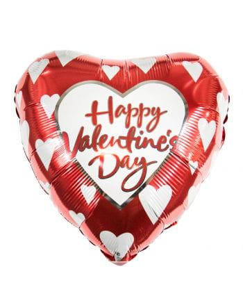 Valentinstag Folienballon mit weißen Herzen