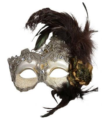 Venezianische Augenmaske mit Federn silber/braun