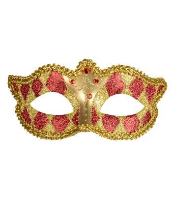 Venezianische Harlekin Augenmaske gold/rot
