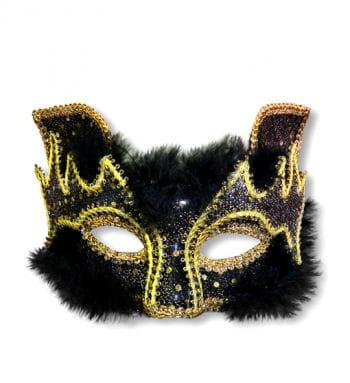 Venezianische Maske Cat Style schwarz gold