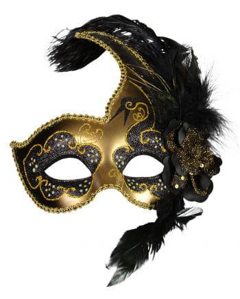 Venezianische Augenmaske mit Federn schwarz/gold
