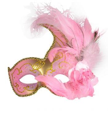 Venezianische Augenmaske mit Federn pink/gold