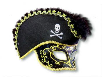 Schwarze Piraten-Maske aus Venedig