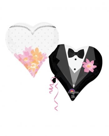 Bridal Couple In Love Heart Balloons
