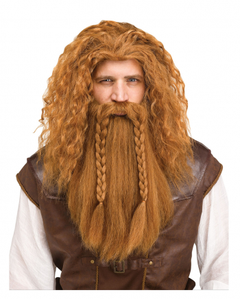 Viking Wig With Beard Red