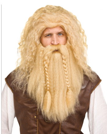 Viking Wig With Beard Blonde