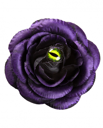 Purple Rose Hair Clip With Cat's Eye