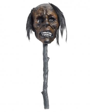 Voodoo Wand With Shrunken Head & LED Eyes