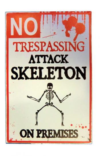 Halloween Warnschild Attackierendes Skelett
