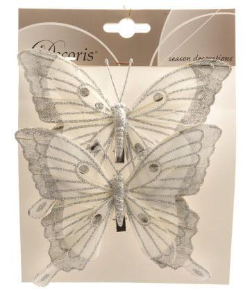 Glitter Butterflies Set of 2 14 cm white