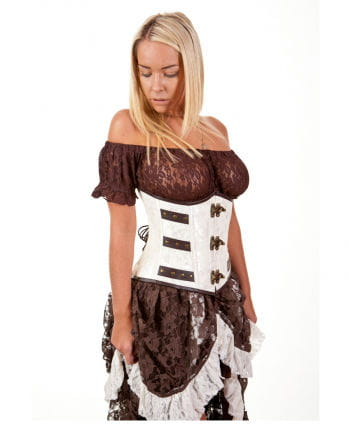 Steampunk Corset white / brown