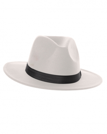White Felt Hat With Hatband